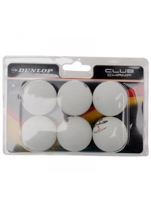 Dunlop TT tafeltennisbal club champ 6-pack wit