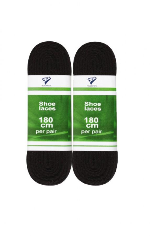 shoelaces flat 180 cm zwart 2-pack